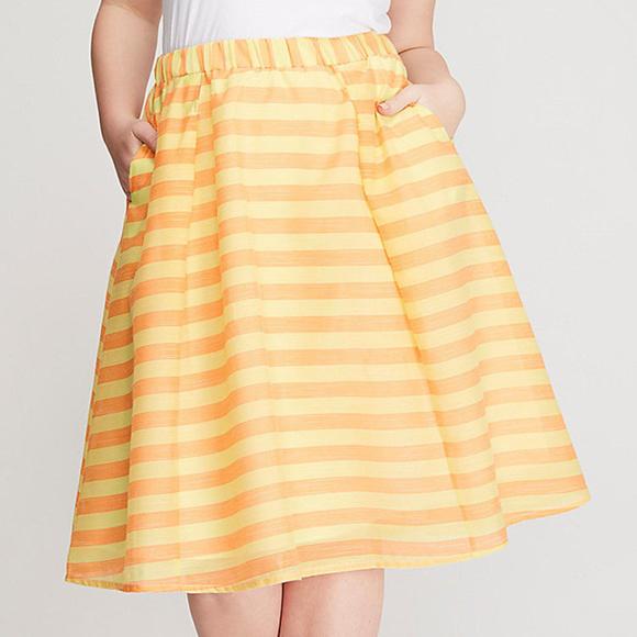 Lane Bryant Dresses & Skirts - Lane Bryant 28 Skirt Orange Yellow Stripe Circle